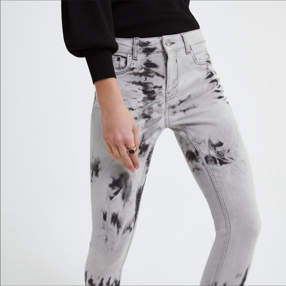 Zara Women's Skinny Jeans Tie Dye Acid Wash 4